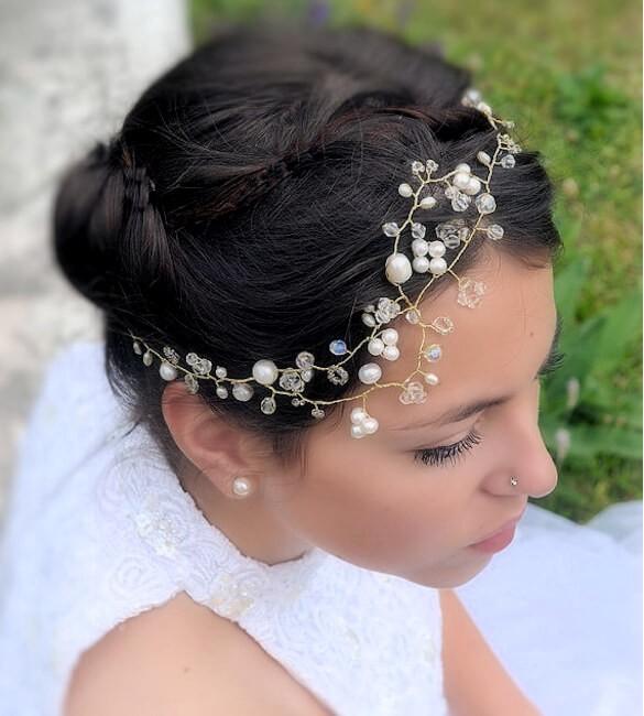 revendeur 60dd5 49d71 Bijou cheveux mariée, Swarovski et nacre, Isis